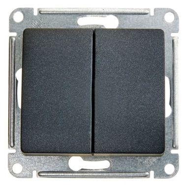 Выключатель 2-клавишный 10А механизм Glossa, антрацит Schneider Electric