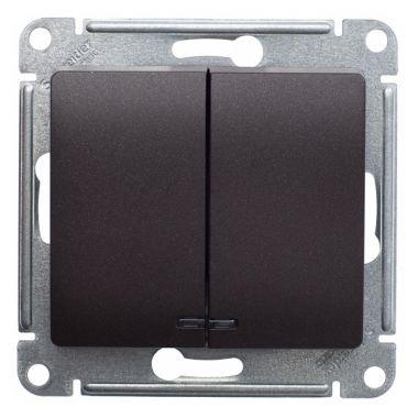Выключатель 2-клавишный с подсветкой 10А механизм Glossa, шоколад Schneider Electric