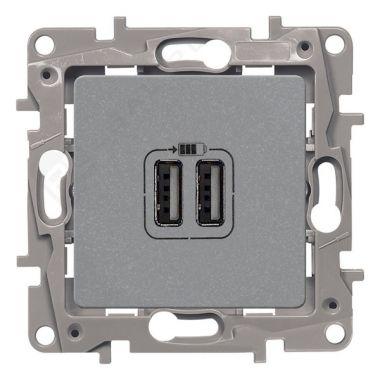 Зарядное устройство с двумя USB-разъемами тип А-A Etika 240В/5В 2400мА алюминий Legrand
