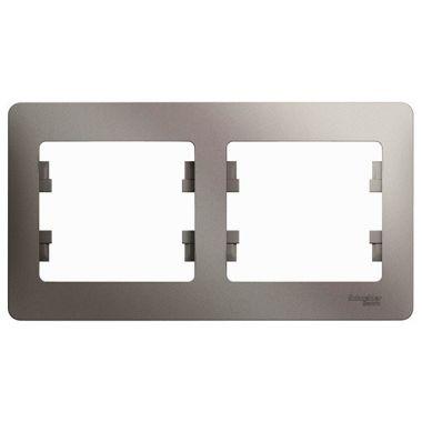 Рамка Glossa 2-постовая, горизонтальная, платина Schneider Electric