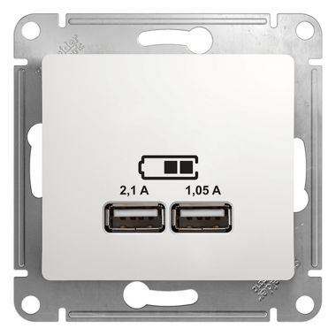 Зарядка USB розетка 5В/2100мА, 2х5В/1050мА механизм Glossa, белый Schneider Electric