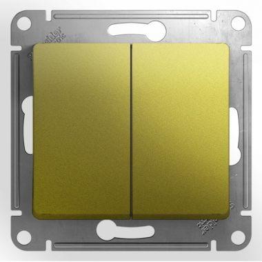 Выключатель 2-клавишный 10A механизм Glossa, фисташковый Schneider Electric