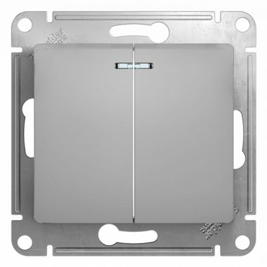 Выключатель 2-клавишный с подсветкой 10А механизм Glossa, алюминий Schneider Electric