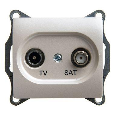 TV-SAT розетка проходная 4DB механизм Glossa, перламутр Schneider Electric
