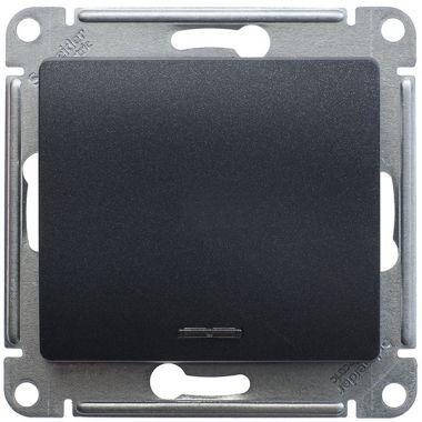 Переключатель 1-клавишный с подсветкой 10А механизам Glossa, антрацит Schneider Electric