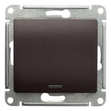 Выключатель 1-клавишный с подсветкой 10А механизм Glossa, шоколад Schneider Electric