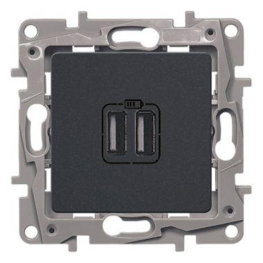 Зарядное устройство с двумя USB-разъемами тип А-A Etika 240В/5В 2400мА антрацит Legrand