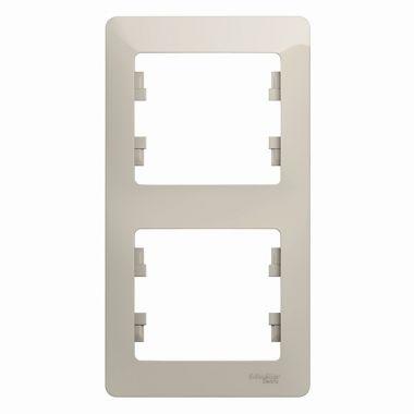 Рамка Glossa 2-постовая, вертикальная, молочный Schneider Electric