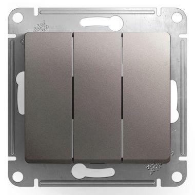 Выключатель 3-клавишный 10А механизм Glossa, платина Schneider Electric