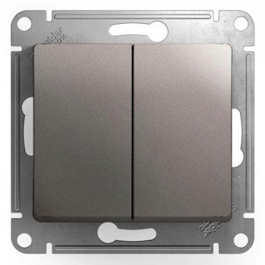 Двухклавишный выключатель 10AX механизм Glossa, платина Schneider Electric
