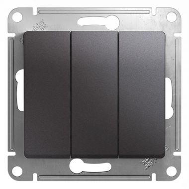 Выключатель 3-клавишный 10А механизм Glossa, графит Schneider Electric