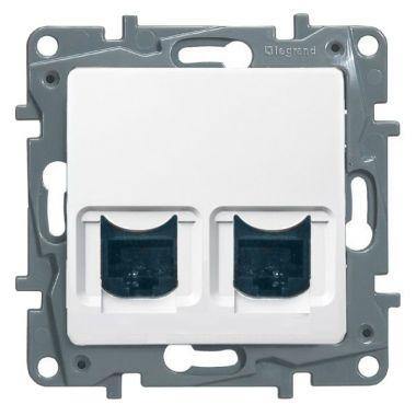 Розетка телефон+компьютер Etika RJ11+RJ45 Cat5 UTP, белый Legrand