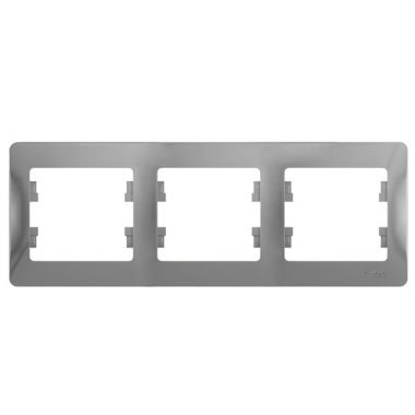 Рамка Glossa 3-постовая, горизонтальная, алюминий Schneider Electric