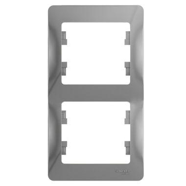 Рамка Glossa 2-постовая, вертикальная, алюминий Schneider Electric