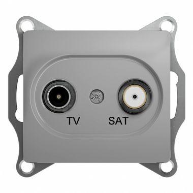 TV-SAT розетка проходная 4DB механизм Glossa, алюминий Schneider Electric