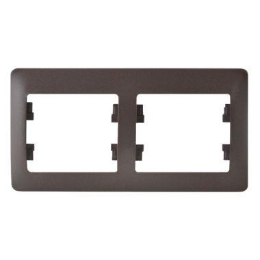 Рамка Glossa 2-постовая, горизонтальная, шоколад Schneider Electric