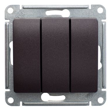 Выключатель 3-клавишный 10А механизм Glossa, шоколад Schneider Electric