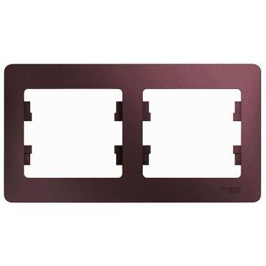 Рамка Glossa 2-постовая, горизонтальная, баклажановый Schneider Electric