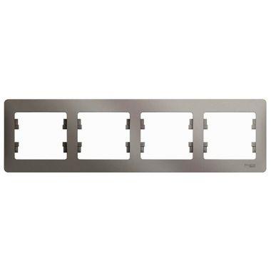 Рамка Glossa 4-постовая, горизонтальная, платина Schneider Electric