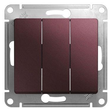 Выключатель 3-клавишный 10А механизм Glossa, баклажановый Schneider Electric