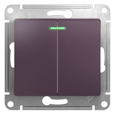 Выключатель 2-клавишный с подсветкой 10A механизм Glossa, сиреневый туман Schneider Electric