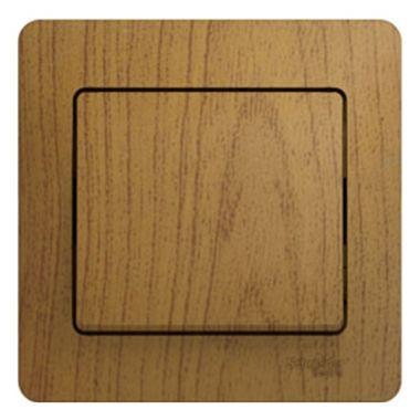 Выключатель 1-клавишный 10А в сборе Glossa, дерево дуб Schneider Electric
