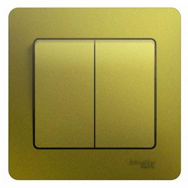 Выключатель 2-клавишный 10A в сборе Glossa, фисташковый Schneider Electric