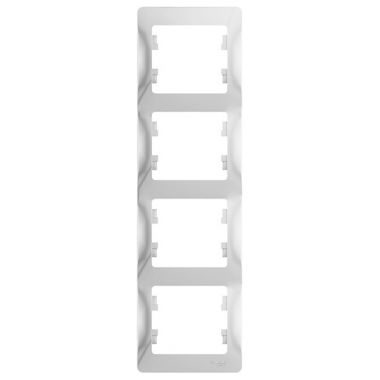 Рамка Glossa 4-постовая, вертикальная, белый Schneider Electric
