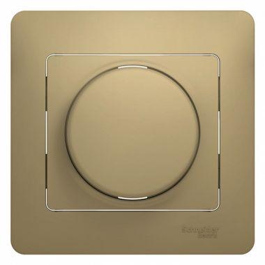 Светорегулятор (диммер) универсальный 600Вт/ВА в сборе Glossa, титан Schneider Electric