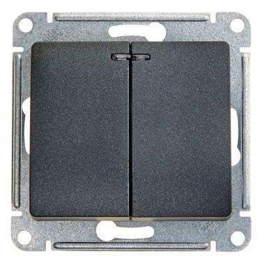 Выключатель 2-клавишный с подсветкой 10А механизм Glossa, антрацит Schneider Electric