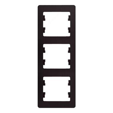 Рамка Glossa 3-постовая, вертикальная, шоколад Schneider Electric