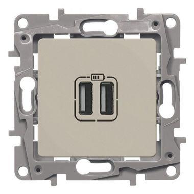 Зарядное устройство с двумя USB-разъемами тип А-A Etika 240В/5В 2400мА слоновая кость Legrand