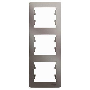 Рамка Glossa 3-постовая, вертикальная, платина Schneider Electric