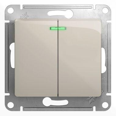 Выключатель 2-клавишный с подсветкой 10A механизм Glossa, молочный Schneider Electric