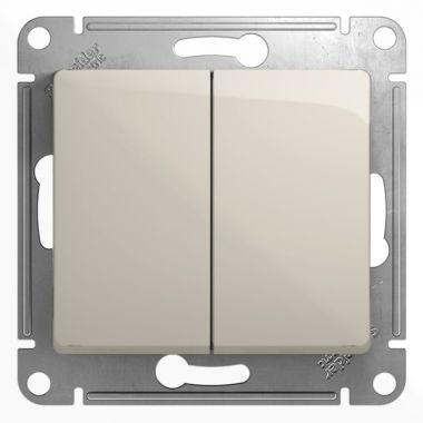 Переключатель 2-клавишный 10A механизм Glossa, молочный Schneider Electric