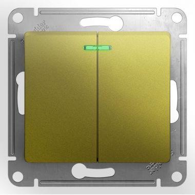 Выключатель 2-клавишный с подсветкой 10A механизм Glossa, фисташковый Schneider Electric