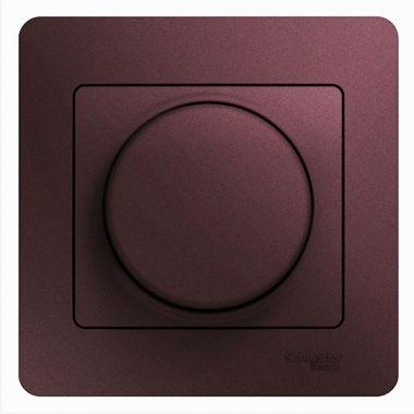 Светорегулятор (диммер) поворотный 300Вт в сборе Glossa, баклажановый Schneider Electric