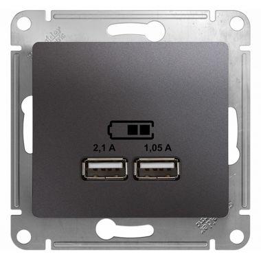 Зарядка USB Розетка 5В/2100мА 2х5В/1050мА механизм Glossa, графит Schneider Electric