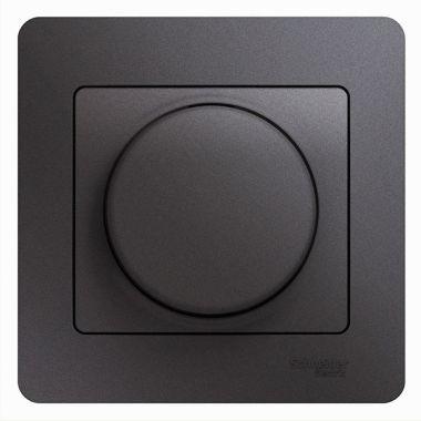 Светорегулятор (диммер) поворотный 300Вт в сборе Glossa, графит Schneider Electric