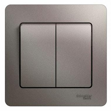 Выключатель 2-клавишный 10A в сборе Glossa, платина Schneider Electric