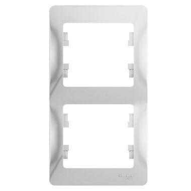 Рамка Glossa 2-постовая, вертикальная, белый Schneider Electric