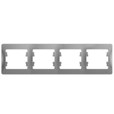 Рамка Glossa 4-постовая, горизонтальная, алюминий Schneider Electric