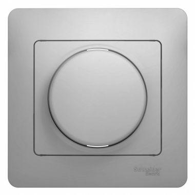 Светорегулятор (диммер) поворотный 300Вт в сборе Glossa, алюминий Schneider Electric