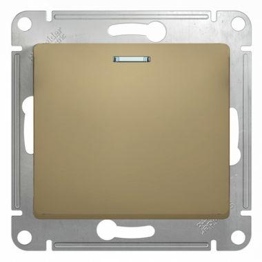 Выключатель 1-клавишный с подсветкой 10А механизм Glossa, титан Schneider Electric