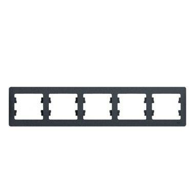 Рамка Glossa 5-постовая, горизонтальная, антрацит Schneider Electric