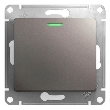 Одноклавишный выключатель с подсветкой 10AX механизм Glossa, платина Schneider Electric