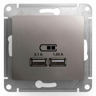 Зарядка USB 5В/2100мА 2х5В/1050мА механизм Glossa, платина Schneider Electric