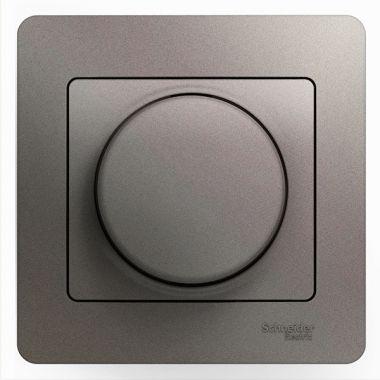 Светорегулятор (диммер) поворотный 300Вт в сборе Glossa, платина Schneider Electric