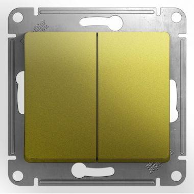 Переключатель 2-клавишный 10A механизм Glossa, фисташковый Schneider Electric