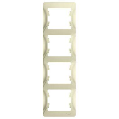 Рамка Glossa 4-постовая, вертикальная, бежевый Schneider Electric